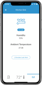 Screenshot of STRATIS mobile app with the humidity and leak sensor feature