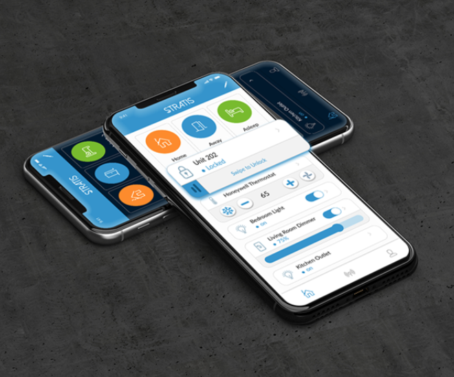 Two iphones with STRATIS resident app homepage in light and dark modes, respectively
